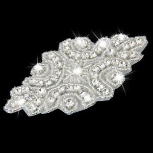 Iron-On-Sewing-Rhinestone-Crystal-Beaded-Motif-Wedding-Dress-Sash-Applique-Patch