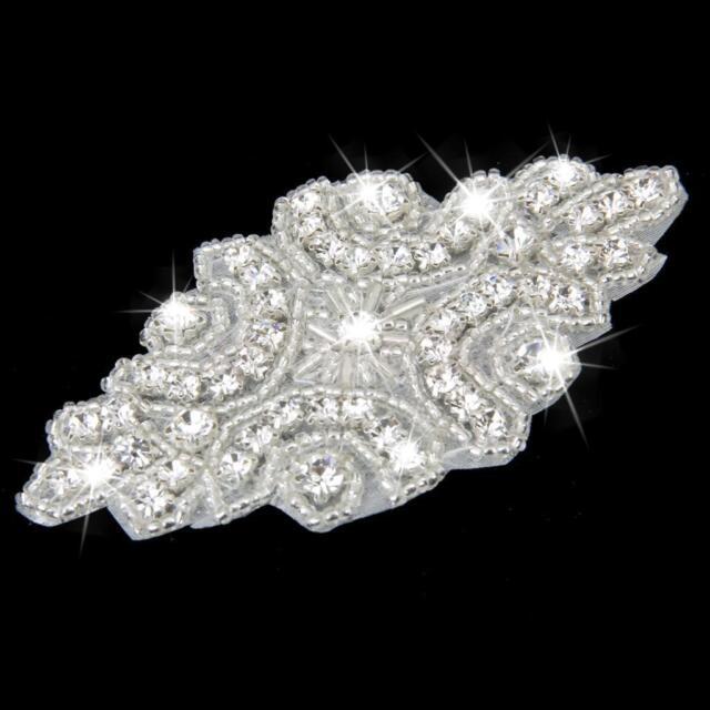 642e55e8ae Iron on Rhinestone Crystal Beaded Motif Wedding Dress Sash Applique Patch