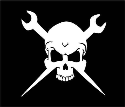 WHITE Vinyl Skull wrenches rigger iron worker oil machanic truck sticker