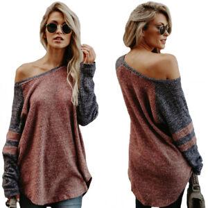 Mujer-Sueter-Jersey-Asimetrico-Camiseta-Manga-Larga-de-la-Hombros-Descubiertos