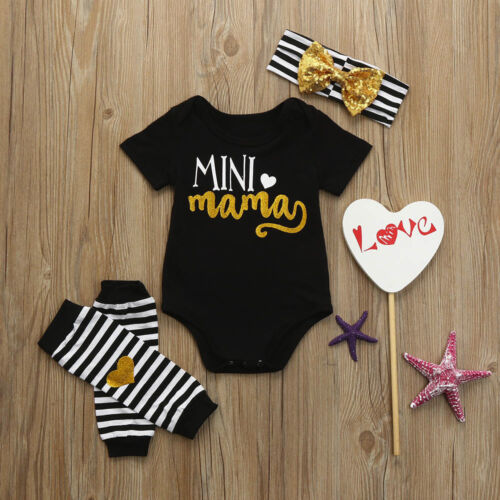 Newborn Infant Kids Baby Girls Romper+Leg Warmer+Headband Clothes Outfit Set KW