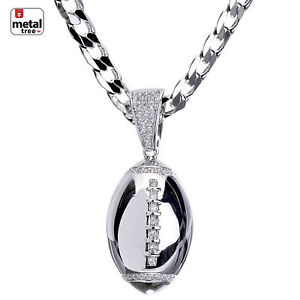 Men-039-s-Fashion-Silver-Plated-CZ-Football-Pendant-Cuban-Chain-Necklace-BCH-15109-s