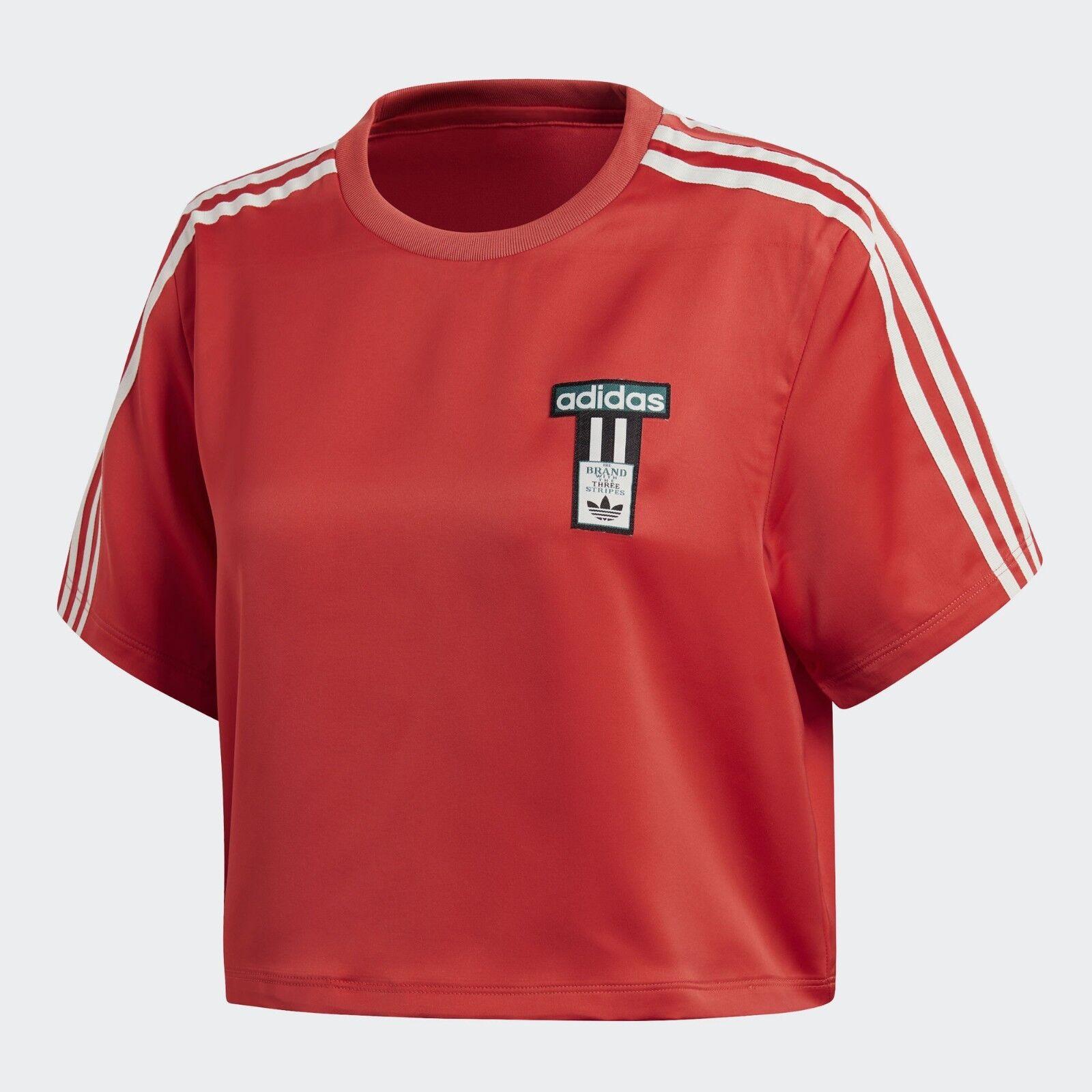 Adidas Originals Women's ADIBREAK SATIN CROPPED T-Shirt Amazon Red DH4599 c