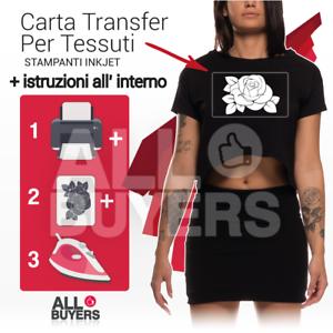 CARTA TRANSFER A4 TESSUTI STAMPA INKJET trasferibile magliette t-shirt