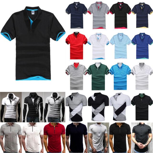 Men's Polo Shirt Dri-Fit Golf Sports Striped Casual T Shirt Jersey Short Sleeve