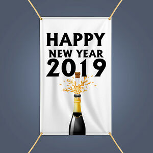 Happy New Year 2019 Banner Outdoor Party Decor Champagne
