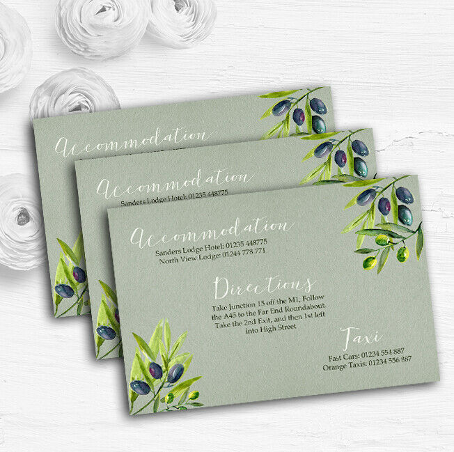 Rustic Vintage Watercolour Olive Personalised Wedding Guest Information Cards