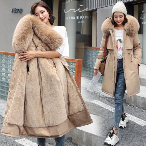 Winter Womens Ladies WindbreakerHooded Coat Jacket Parka Fur lining Outwear