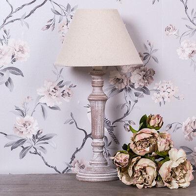 Beige Wooden Linen Table Bedside Lamp Shabby Vintage Chic Light Home Decor Gift