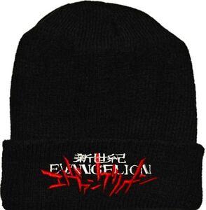 Evangelion Logo Wool Hat Black Beanie Knit Neon Genesis Nerv Shinji ... 3fc1c8a3d86a