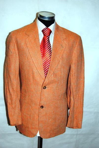 Venturo Sakko Original Einreiher Orange Strukturiert Schurwolle Gr. 46