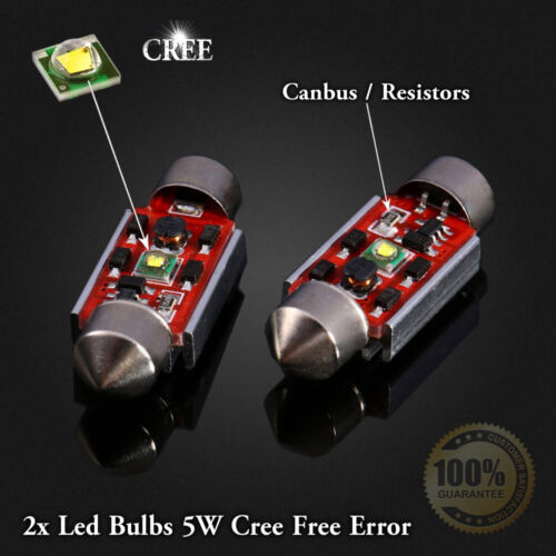 2x Bulbs Number Plate Led 5W CREE White Free Error For Seat Ibiza MK4 2002-2009