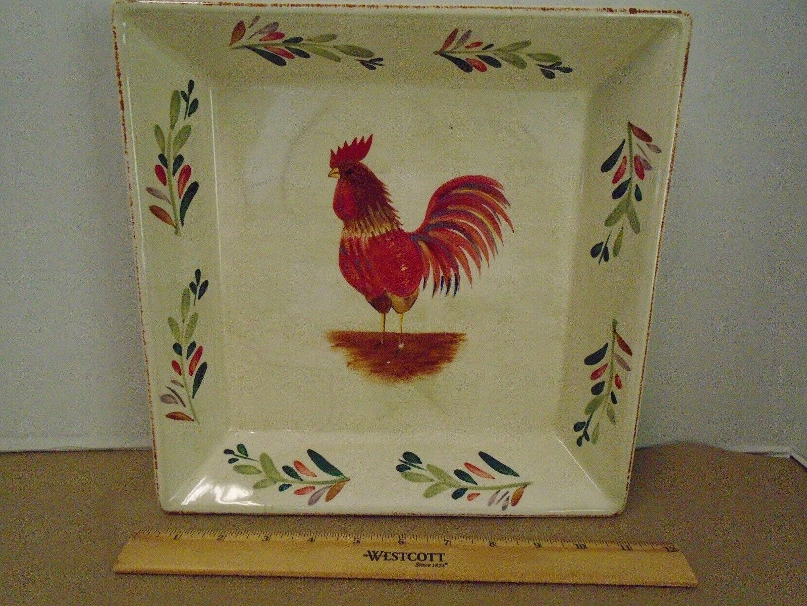 Home Neuf Rooster Service Plat Casserole Country Carré Art Poterie