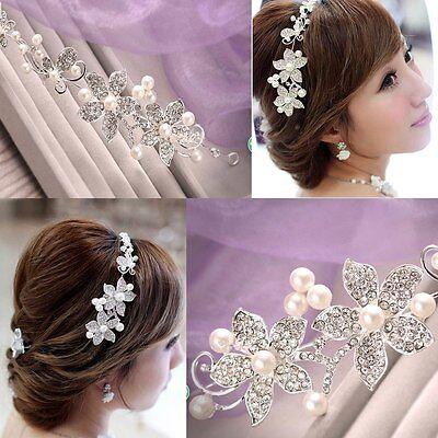 Ladies Silver Rhinestone Bridal Wedding Flower Pearls Headband Hair Clip Tiara
