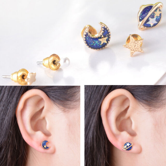 1Set 5pcs New Girls Women's Stars Moon Universe Enamel Ear Studs Earrings Mixed