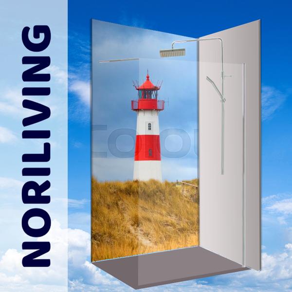 Eck Duschrückwand Rückwand Dusche Alu, Fliesenersatz, Leuchtturm Nordsee Maritim