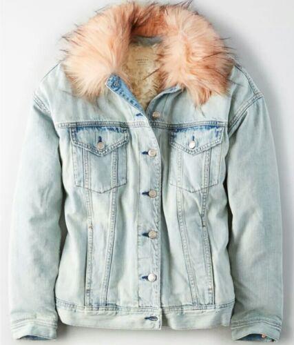 Faux Outfitters Eagle Denim Med Foret Fur American Jakke Sherpa Aeo Ny Womens FO7wxwBq