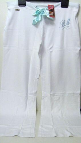 QUALITY WHITE BLUE COTTON DIAMANTE LOUNGE SWEAT PANTS JOGGERS 10-12 /& 12-14 BNWT