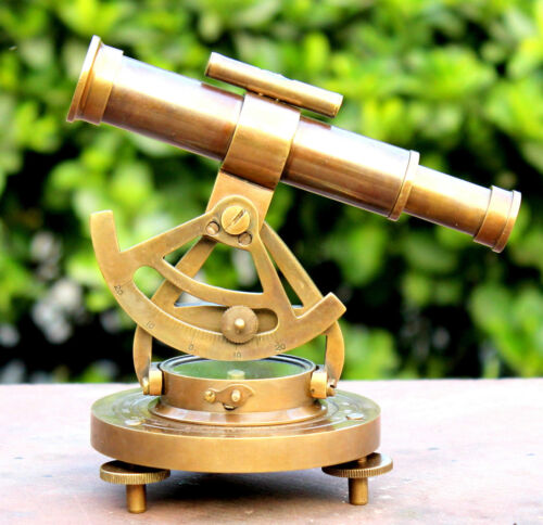 Nautical Brass Mini Alidate With Telescope /& Compass Solid  Lid Alidade