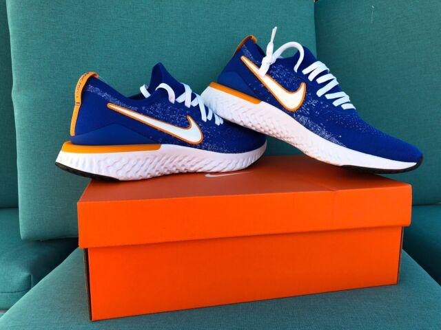 Nike Epic React Flyknit 2 Running Shoes Racer Blue Orange Sz 10 CJ5228 400