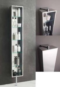 Arredo bagno colonna rotante inox con specchio e mensole ebay for Mensole x bagno