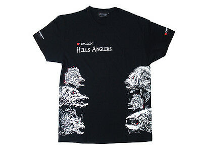 XXXL Dragon Hells Anglers T-shirt Perch M Sizes High class cotton Black