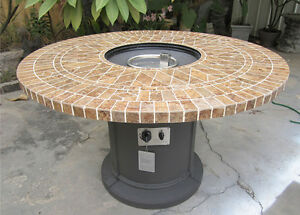 Details About New 48 Mosaic Tile Fire Pit Fireplace Outdoor Dining Table Propane Firepit