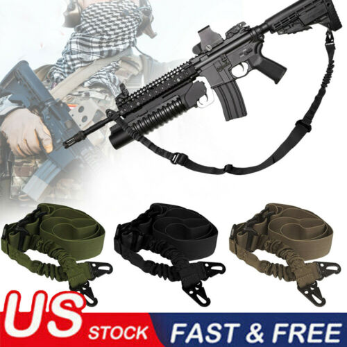 Details about  /Tactical 1 One 2 Point Gun Sling Shoulder Strap Outdoor Rifle Metal Buckle Sling