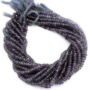 Iolite-Natural-Gemstone-Rondelle-Shape-Faceted-Beads-13-034-Strand-5-6-mm