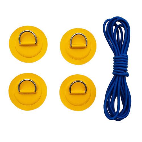 4er Set Premium D-Ring Pad Patch zum Kleben Rutschfeste Pads mit Schnur für