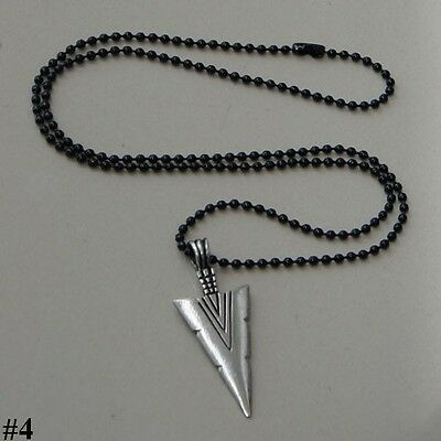 TRIBAL SPEARHEAD SPEAR LANCE ARROWHEAD Asgard God Odin Pewter Pendant W Necklace
