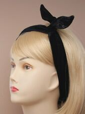 BLACK VELVEt BENDY HEAD WRAP HAIR WIRED BANDEAUX 9612 GIRLS LADIES BAND