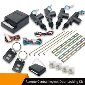 Car-Door-Entry-System-Locking-Lock-Kit-2-Remotes-Fobs-Control-Central-Keyless