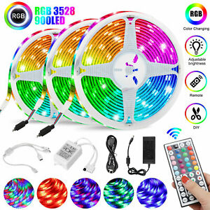 49FT-Flexible-Strip-Light-3528-RGB-LED-SMD-Remote-Fairy-Lights-Room-TV-Party-Bar