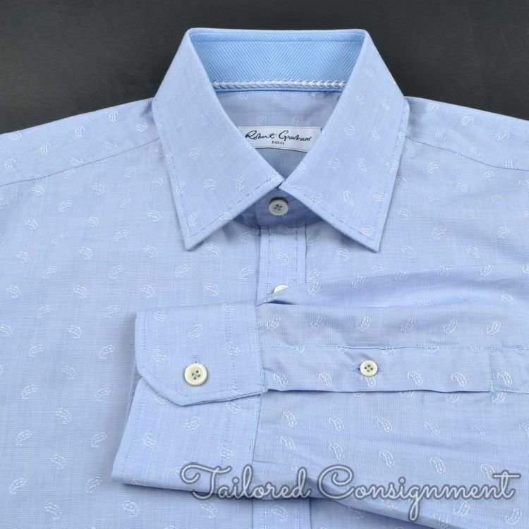 ROBERT GRAHAM bluee Paisley 100% Cotton Mens Luxury Dress Shirt - 15.5
