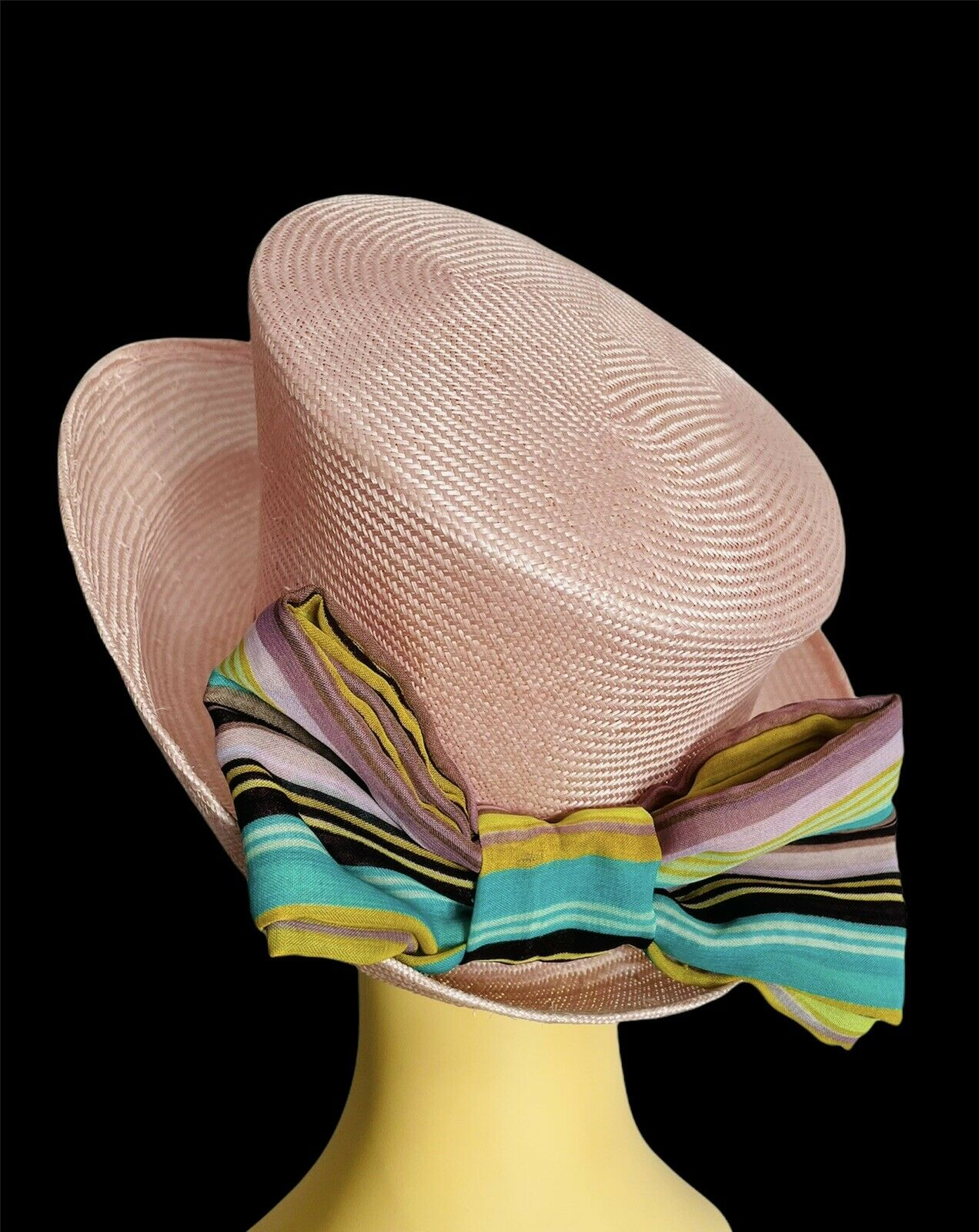 Ladies Pretty Pink Hat With Cotton Striped Back Bow. Wedding Races Special Event