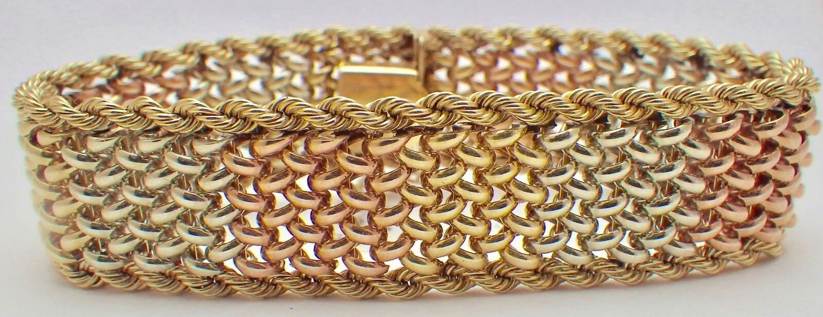 Estate 14K Tri-color gold Woven Bracelet w Rope Trim 3 4  Wide 50.5 Grams