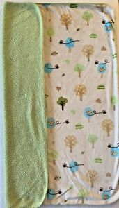 Circo Baby Animal Blanket Green Cream Sherpa Owl Bird Bee