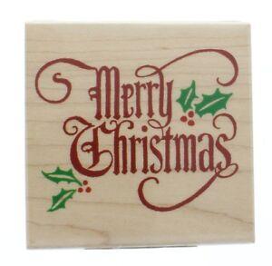 Merry Christmas Inkadinkado Wood Stamp