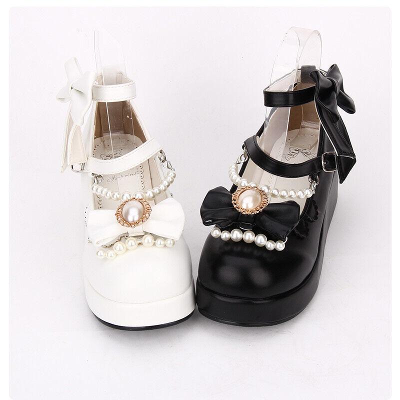 Gothic Lolita Barock Bow Schwarz Weiß Damen Schuhe schuhe Cosplay Kostüme