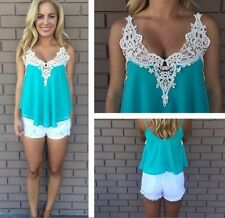 Fashion Women Summer Vest Sleeveless Blouse Casual Tank Tops T-Shirt Lace L