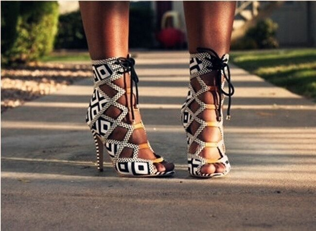 Lace Up Open High Toe Women Sandals Sexy High Open Heel Gladiator Ankle Boots size 6,7,8&9 ad95d4