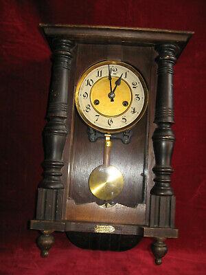 Antike Alte Wanduhr Regulator Holz Messing Mechanisch Mit Schlag 44cm Uhr