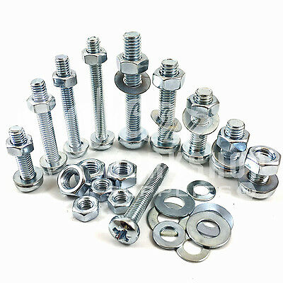M2 & M2.5 ZINC MACHINE POZI PAN HEAD SCREWS / BOLTS WITH FULL NUTS & THICK WASHE