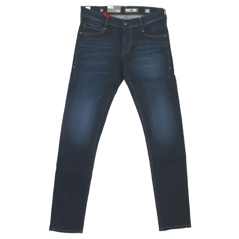 18593 Mustang Hommes Jeans Pantalon Oregon Fuselé Stretch Darkblue Used Bleu