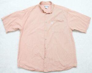Columbia-Dress-Shirt-Extra-Large-Tall-XLT-Short-Sleeve-Mens-Man-Orange-White