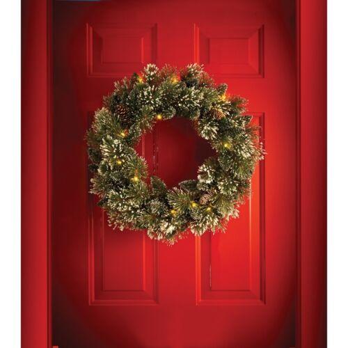 30 Warm Led Light Pre-Lit Sparkling Pine Wreath with Pinecones Christmas Decor