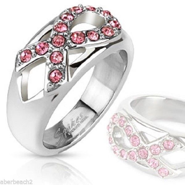 Stainless Steel Pink Ribbon Gemmed Breast Cancer Awareness Ring Band