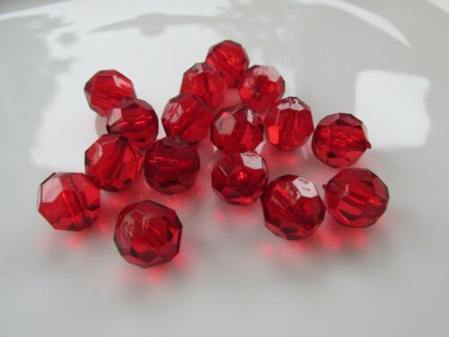 Jewellery Craft Design Red Acrylic Round Faceted Beads 12mm Pack 10