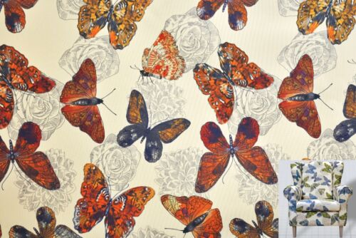 Polsterstoff Dekostoff 0,5lfm 148cm breit Muster Butterfly Schmetterling Rot